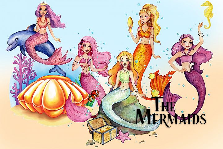Watercolor Colorful Mermaids by Whimseez