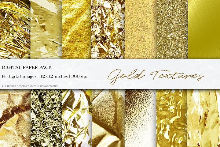 Gold Digital Papers, Gold Textures, Gold Foil Backgrounds