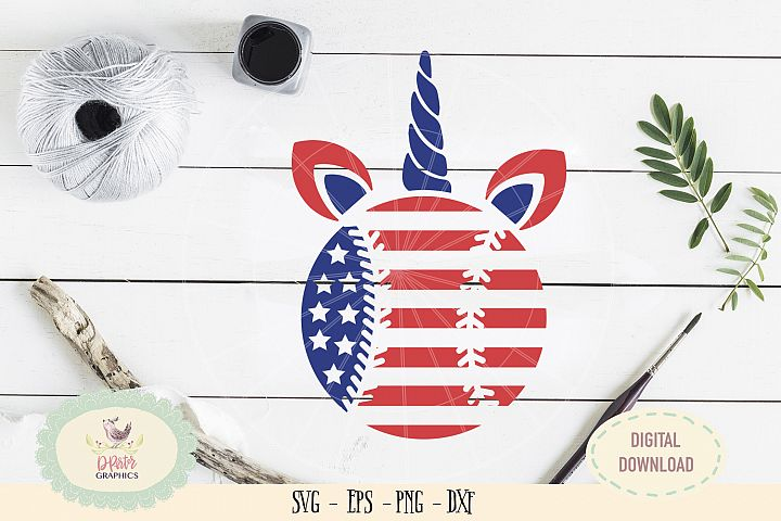 Baseball Unicorn American flag of July SVG cut file