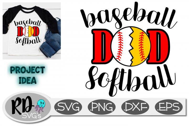 Baseball Softball Dad - a sports cut file SVG