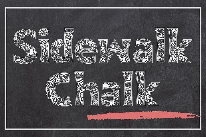 Sidewalk Chalk - a Zen Doodle Coloring Font