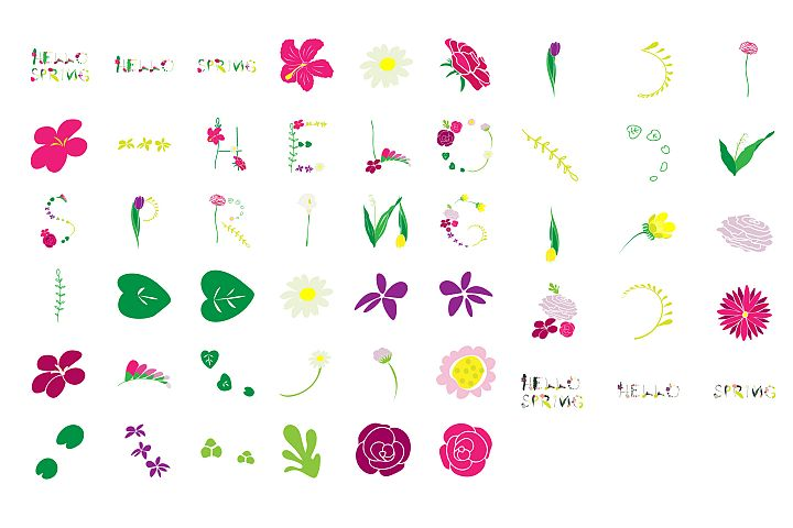 Hello Spring- Spring/ Flowers/ Easter/ Mothers day Clipart