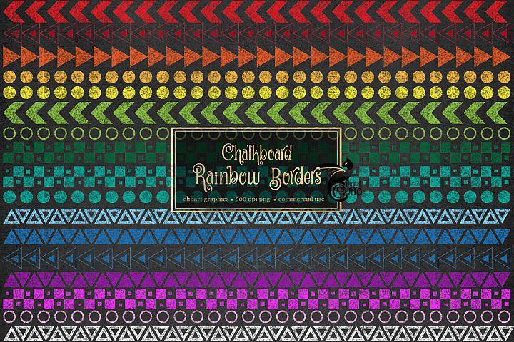 Chalkboard Rainbow Borders Clipart