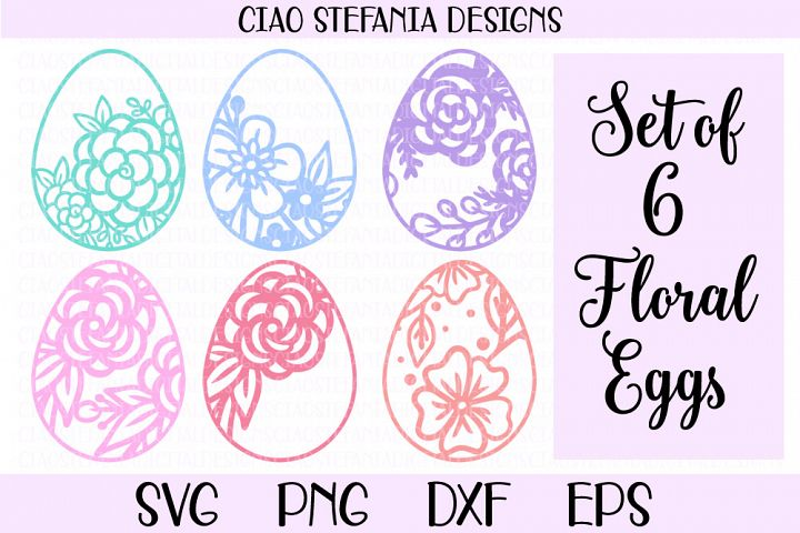 Floral Easter Egg SVG Cut Files Bundle