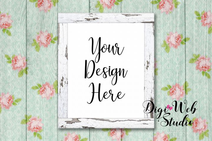 Wood Sign Mockup - White Distressed Cozy Cottage Wood Frame