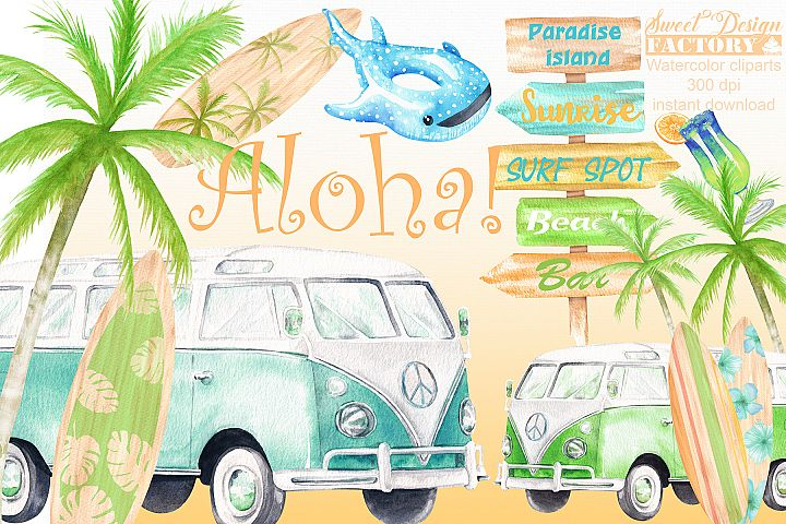 Watercolor surfing clipart