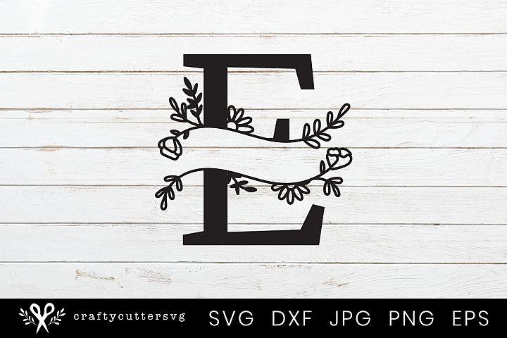E Split Monogram Letter Handdrawn Botanical Flower Leaves