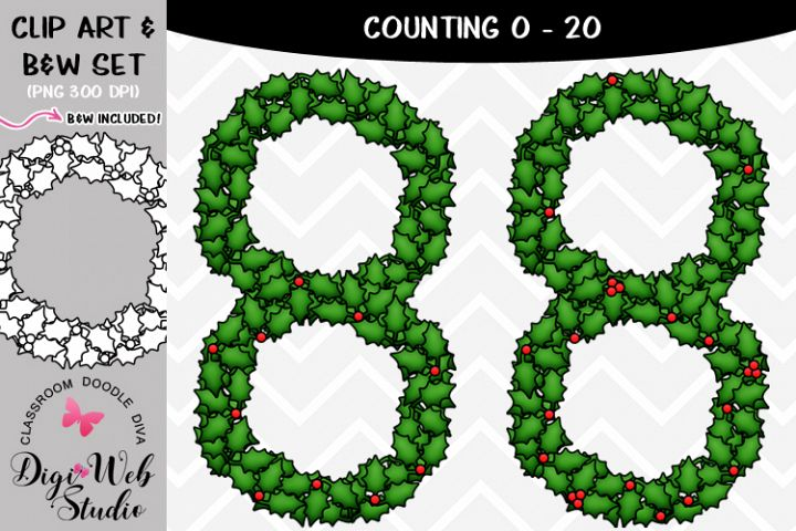 Clip Art / Illustrations - 0-20 Counting Holly Berries