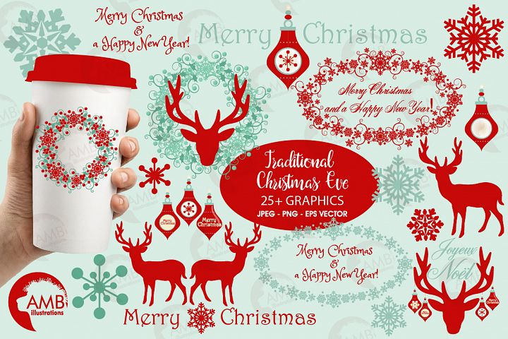 Reindeer clipart, invitation embellishments, graphics, illustrations AMB-1117