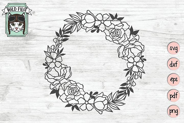 Wreath SVG file, Wreath cut file, Floral, Flowers, Monogram