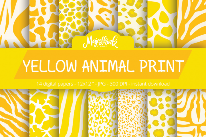 Yellow Animal Print Digital Paper - with zebra, tiger, leopard, girrafe pattern Scrapbook Paper