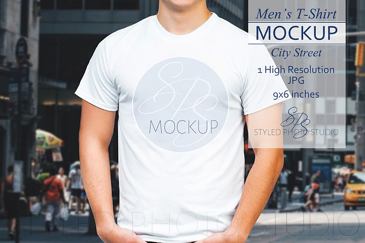 Mens tShirt Mockup City Street 3.2 Aspect Ratio