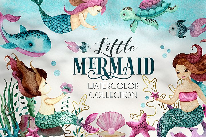 Little Mermaid. Watercolor collection