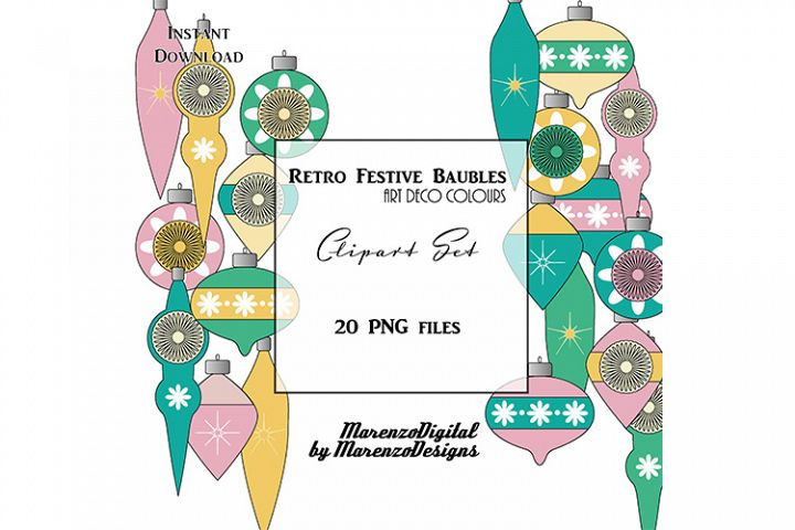 Retro Festive Baubles - Art Deco colours