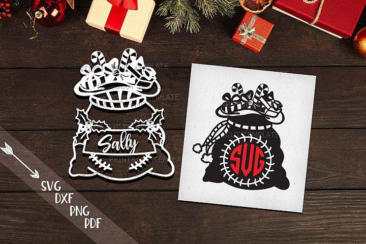 Christmas Santa sack monogram set svg dxf pdf cutting files
