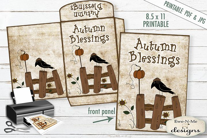 Autumn Cocoa/Seed Envelope - Crow Pumpkin - Fall - PDF JPG