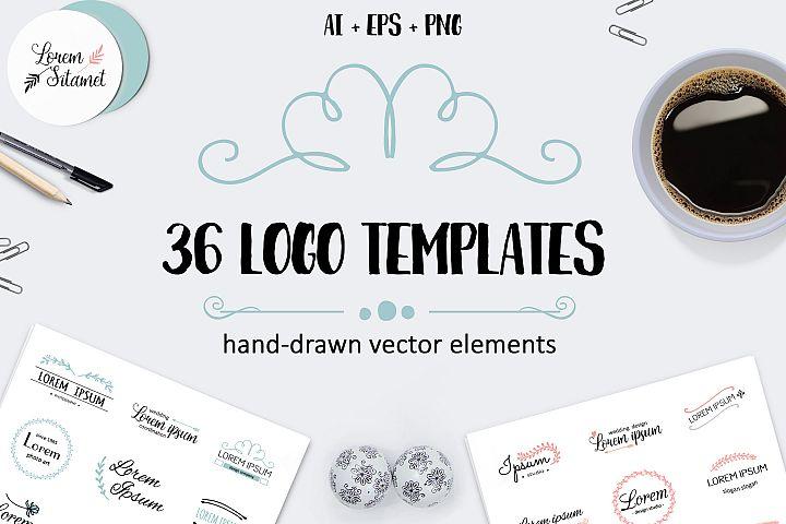 Vector logo templates pack. 36 logos