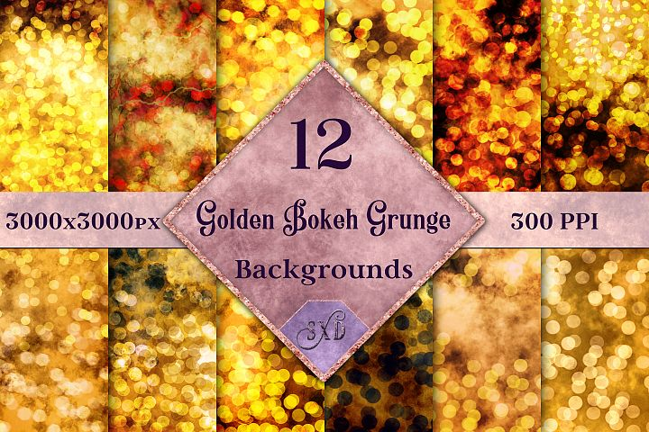 Golden Bokeh Grunge Backgrounds - 12 Image Textures Set