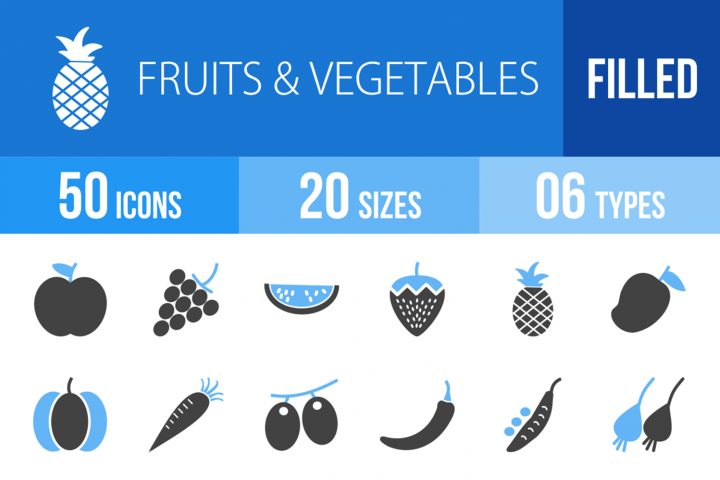 50 Fruits & Vegetables Filled Blue & Black Icons