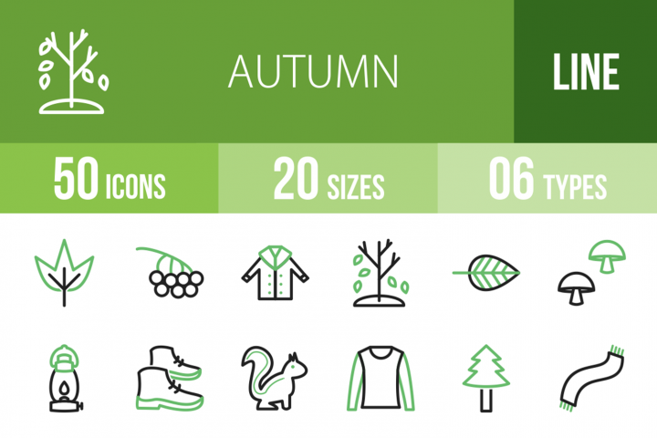 50 Autumn Line Green& Black Icons