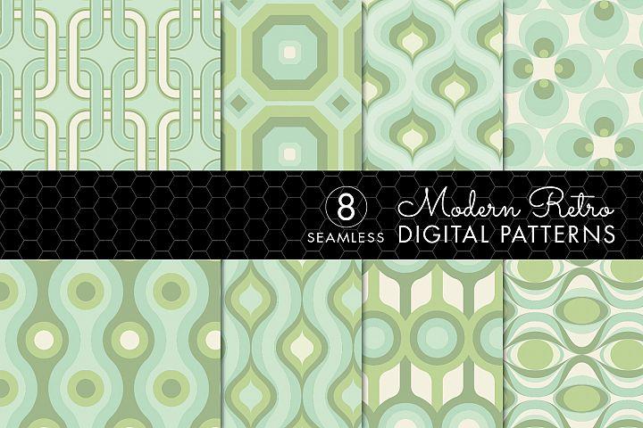 8 Modern Retro Patterns - Light Greens