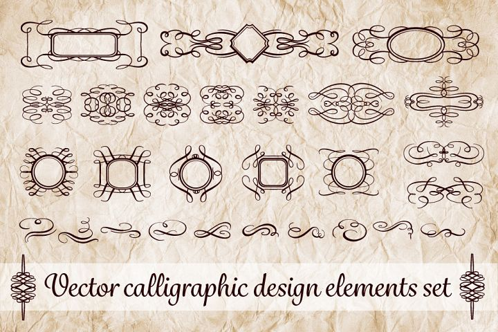 28 calligraphy design elements pack