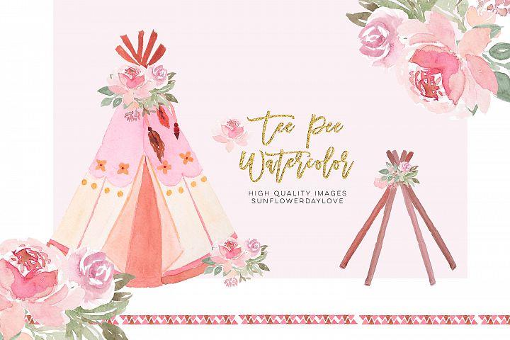 Floral Tee Pee Clip art Printable