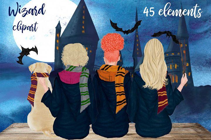 Wizard Girls clipart, Castel Landscape, Dog clipart
