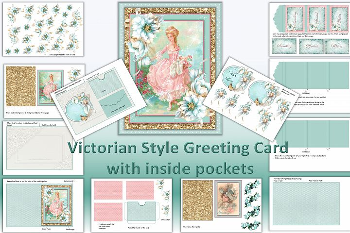 Vintage Greeting Card Ephemera Kit Printable JPEG and PDF