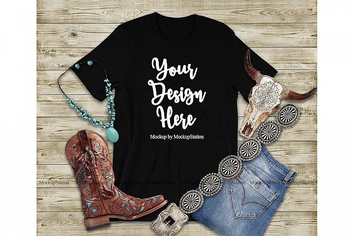 Western Black T-Shirt Mock Up, Southern Bella Canvas 3001
