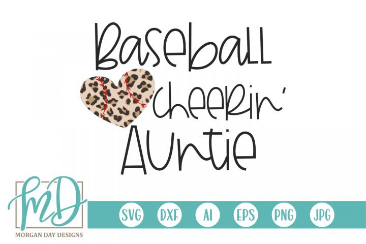 Leopard Baseball Heart - Baseball Cheerin Auntie SVG
