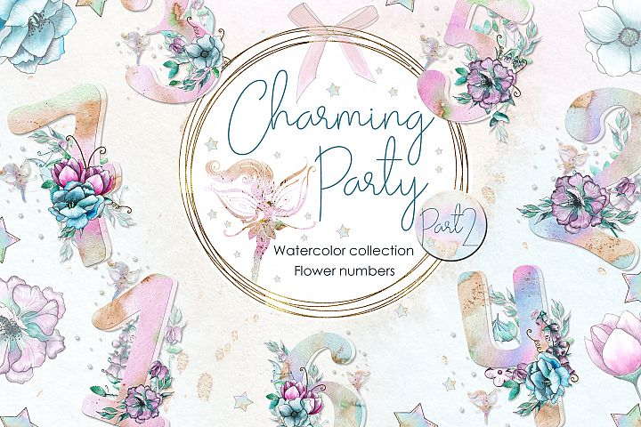 Charming party. Floral numbers