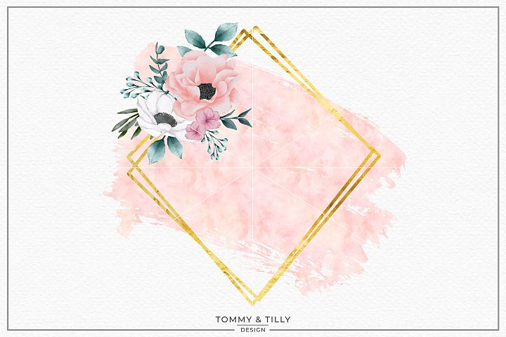 Blush Floral Geometric Frame No.4- Sublimation PNG Clipart