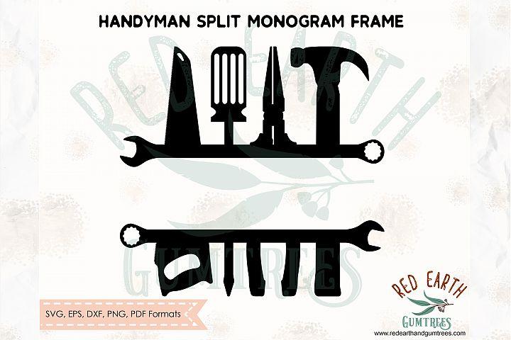 Handyman split monogram frame, Toolbox SVG,DXF,PNG,EPS,PDF