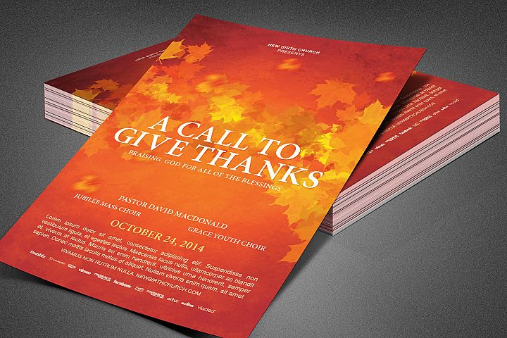 Call to Give Thanks Church Flyer
