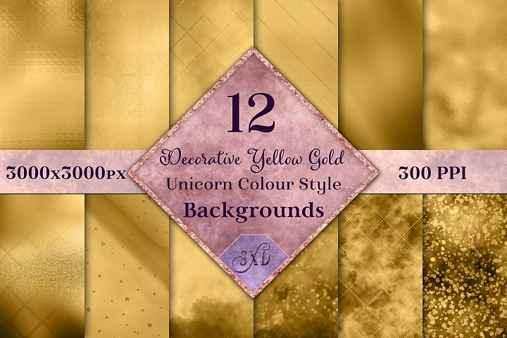 Decorative Yellow Gold Unicorn Colour Style Backgrounds