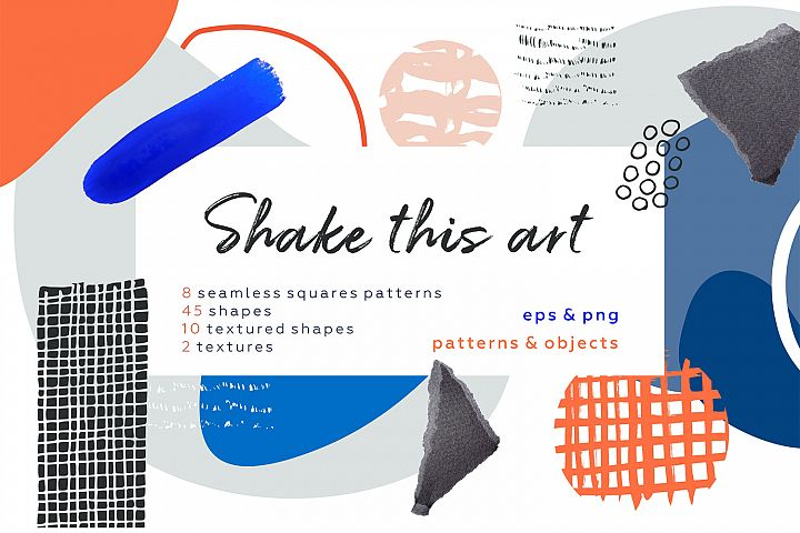 Shake this art! Collage pattern set.