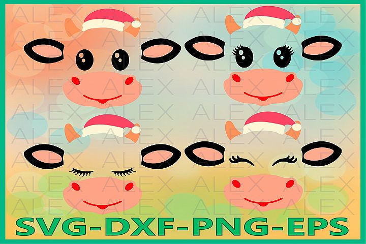 Cow Christmas Svg, Cow face svg, Cow Eyelashes SVG