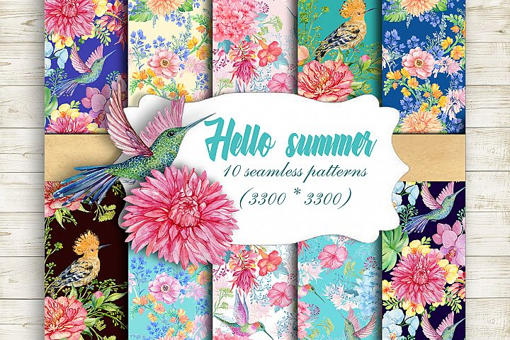 Seamless Patterns Watercolor Hello Summer beautiful floral