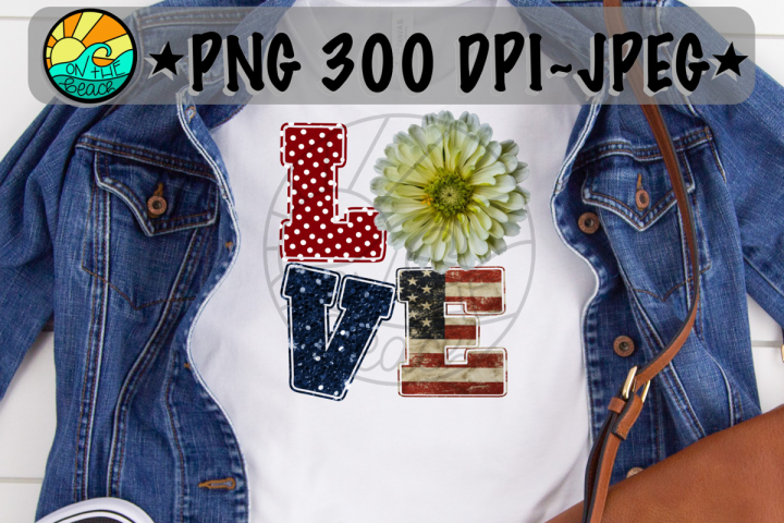 LOVE - Flower- Red White Blue - Glitter- PNG 300 DPI
