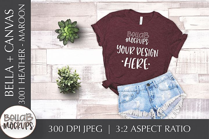 Bella Canvas 3001 Heather Womans T Shirt Mockup, Maroon