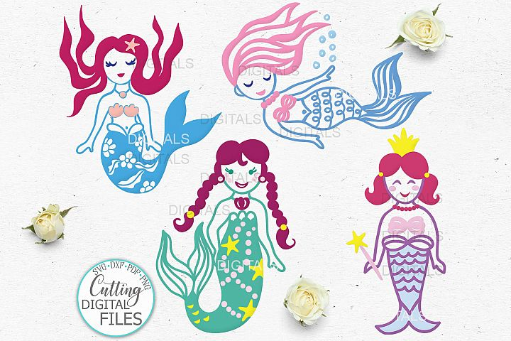 Cute Little Mermaids Bundle svg dxf pdf png for cut print