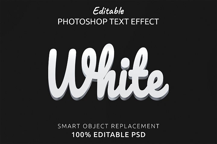 White Editable Photoshop Text Style Effect