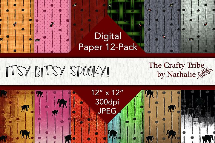 Digital Paper 12-Pack Itsy Bitsy Spooky Halloween Background