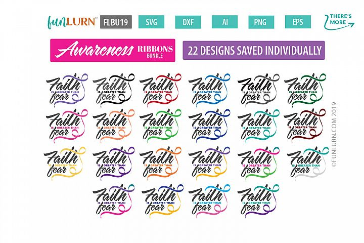 Faith is Greater Than Fear Ribbon Awareness SVG Bundle