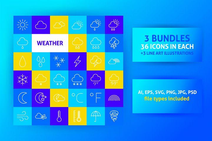 Weather Line Art Icons