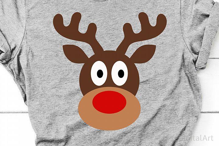 Reindeer Face Svg, Boy Christmas Svg, Cute Svg, Funny Svg