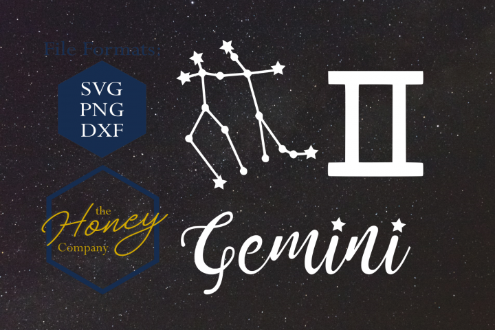 Gemini SVG PNG DXF Zodiac Cutting File Vector Download
