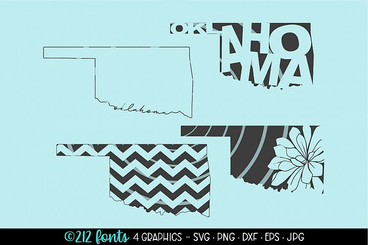 4 - Oklahoma State Map Graphic Cut File DXF PNG JPG SVG EPS