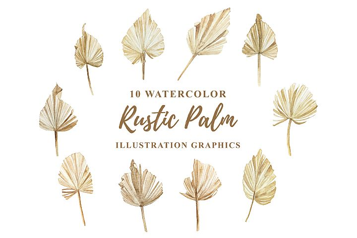 10 Watercolor Rustic Palm Illustration Graphics